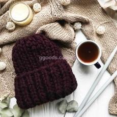Зимняя вязаная шапка Марсала Basic