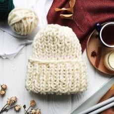 Зимняя вязаная шапка Молочная Basic