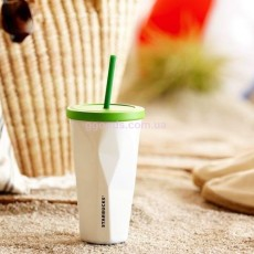 Стакан Starbucks Cold Cup Steel Faceted White