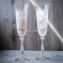 """Свадебные бокалы со стразами """"Розы"""""""