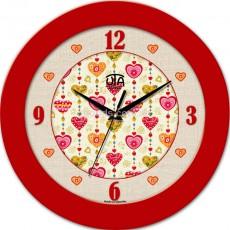 Круглые настенные часы Сердца, красные