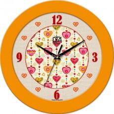 Круглые настенные часы Сердца, желтые