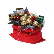 """Букет из конфет """"Новогодняя торба"""""""