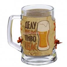 Подарочная пивная кружка в кожаной оплетке Делу время пиво ЩАС