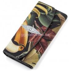 Женский кошелек из кожи ската Попугай