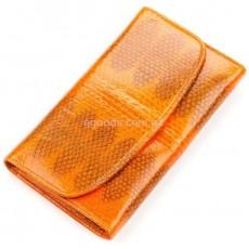 Женский кошелек из натуральной кожи морской змеи оранжевый