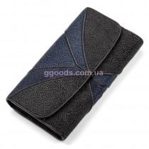 Женский кошелек из кожи ската Черный с синим