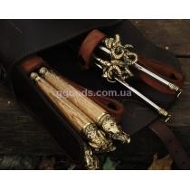 Набор шампуров Дикие звери с мангалом в кожаном колчане