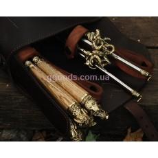 Набор шампуров подарочный Дикие звери с мангалом в кожаном колчане
