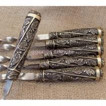 Набор шампуров Лукоморье в кожаном колчане