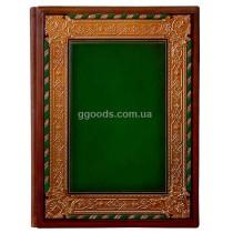 Папка Богема зеленая из натуральной кожи