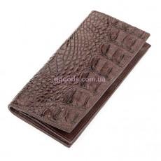 Кошелек из кожи крокодила вертикальный коричневый