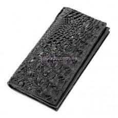 Портмоне из кожи крокодила вертикальное черное
