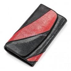 Женский кошелек из кожи морского ската Черный