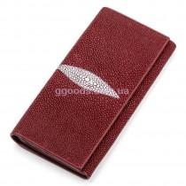 Женский кошелек из кожи ската на кнопке бордовый