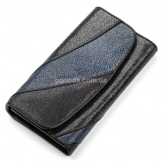 Женский кошелек из кожи ската черны синий