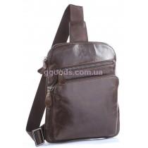 Рюкзак мужской кожаный через плечо Vintage коричневый