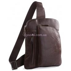 Рюкзак мужской через плечо кожаный Мирт коричневый