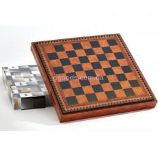 Шахматная доска коричневая с местом для укладки шахмат