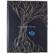 Родословная книга кожаная с синей яшмой
