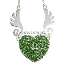 Флешка Сердце ангела Колье зеленый