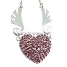 Флешка Сердце ангела Колье розовое