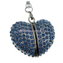 Флешка Сердце бриллиантовое синие стразы