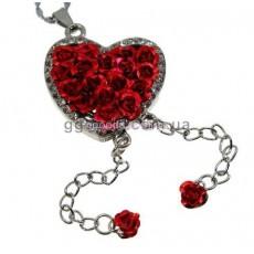 Флешка Сердце из роз на цепочке колье красное