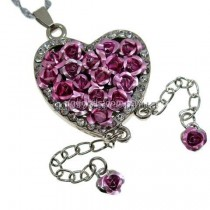 Флешка Сердце из роз на цепочке колье розовое