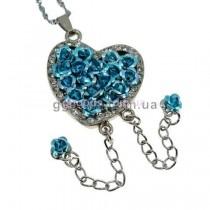 Флешка Сердце из роз на цепочке колье голубое