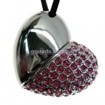 Флешка Сердце серебристое со стразами розовые