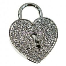 Флешка Сердце на замке со стразами серебристое