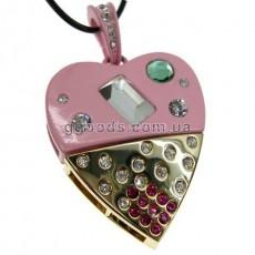 Флешка Сердце со стразами Гламур розовое