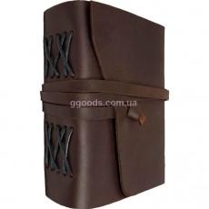 Записная книжка в кожаной обложке темно-коричневая