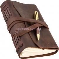 Блокнот с ручкой B6 коричневый чистые листы