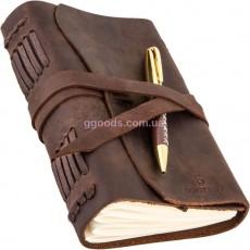 Блокнот кожаный с держателем для ручки