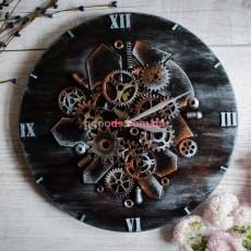 Часы в стиле Лофт темное дерево