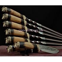 Шампура Вепри с ножом в кожаном колчане