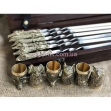 """Комплект шампуров """"Охотничий трофей """" с рюмками в кейсе из дерева"""