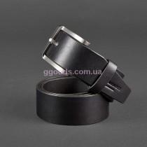Мужской кожаный ремень черный ручной работы (40 мм)