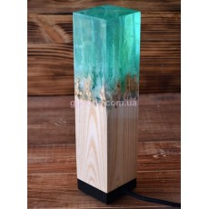 Лампа из эпоксидной смолы и дерева Ясень бирюза