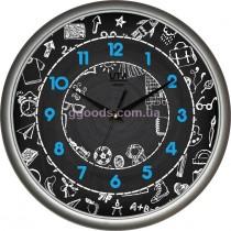 Настенные часы, черный циферблат (школьная тематика)