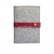 Обложка для паспорта кожа+фетр