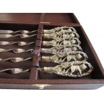 Набор шампуров подарочный Лев в кейсе