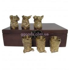 Набор рюмок в деревянной шкатулке Звери