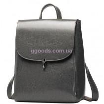 Кожаный женский рюкзак Грейс серый