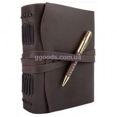 Блокнот с ручкой А5 темно-коричневый линованные листы