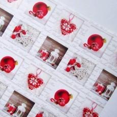 Бумага для упаковки подарков белая Красный шар 10 м