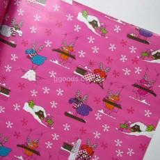 Бумага для упаковки подарков розовая Лоси 10 м