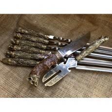 Набор шампуров Дикие Звери в колчане с вилкой и ножом